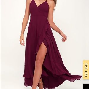 Lulus Burgundy Lace-Up High-Low Maxi Dress. Used